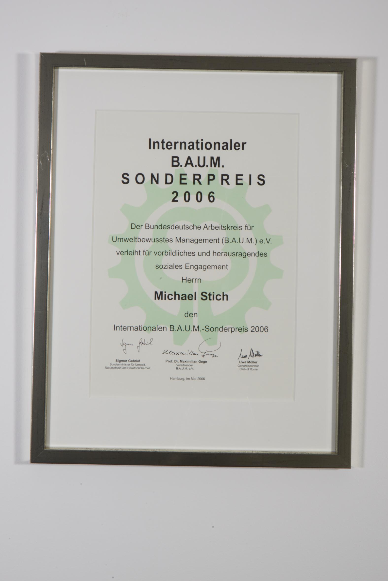 Internationaler B.A.U.M. Sonderpreis, 2006