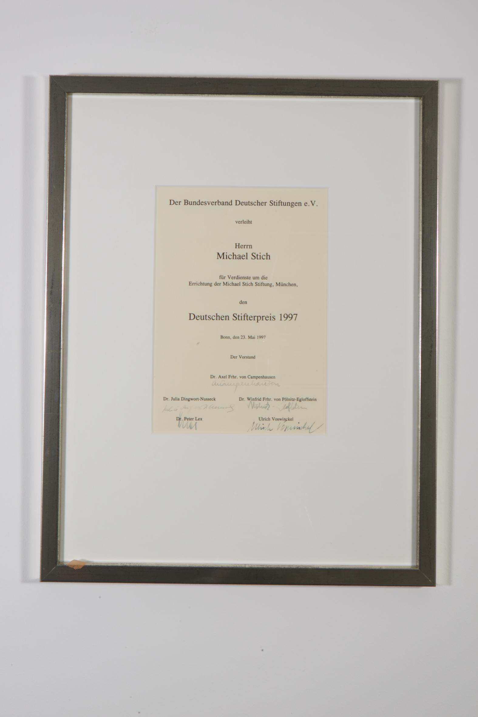 Deutscher Stifterpreis, 1997